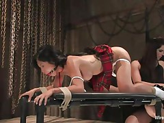 Do you like asian whores that love it in the butt? Then stay with us and enjoy watching these whores playing. The asian brunette is bent over, ball gagged and tied while her girlfriend plays with her tight anus. She inserts an electric anal plug in that hole and gives this bitch a few shocks in her rectum