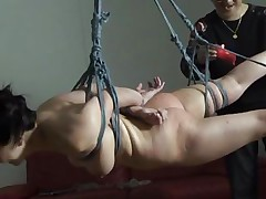 The executor didn't just humiliated this brunette Nippon milf, he brooked her self esteem and no she accepts her fate. She hangs there and then she is lowered only to stay in cowgirl position. After some greater amount humiliation she receives a hardcore fuck from behind that makes her pretty mouth moan and her boobs bounce