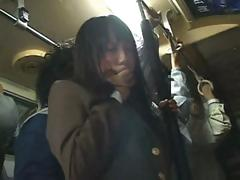 Shy Asian school girl gets fondled on the train then fucked at home