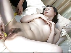 You know how these Asian milfs are, the older they get the sluttier they become. Hitomy is really slutty and she's quite hard to please so I finger her ass hole and that pussy to make her really horny. Her anus is tight and squeezes my finger so i go deeper and deeper in her ass. She could use something bigger!
