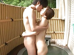 Hot japanese slut Chihiro has her pussy licked by her horny boyfriend. Then, she stands on her feet and kiss him before grabbing his hard cock with her dirty mouth. On her knees and with a dick in her mouth is the best thing for her! The bitch spreads her legs and let him stick his penis in her tiny vagina.