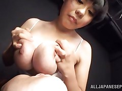 She's a beauty and loves pleasuring a man with those big soft breasts. She takes them out of her shirt, squeezes them and then allows this guy to lick and suck her nipples. This cutie enjoy it and probably she will just love to be repaid with a hard fuck between her boobs, maybe some semen too!