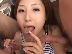 Sexy Oriental mamma in heels gets stripped and drilled on couch