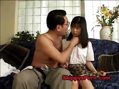 Japanese schoolgirl gets her snatch licked by an older man