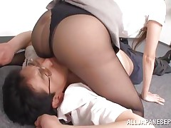Risa has an respectable business going on but she has a big lack of respect for her employees. As an example check this out, one of her workers disobeys so she grabs him by the face and puts him to lay on the floor. Risa doesn't even takes off her pantyhose and positions herself on the guy's face to get pussy licked
