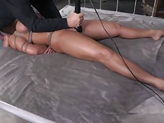 Mom Ava receives some attention from not one but two guys. Well she's getting more then she can handle and the guys do what they want with her sexy body. After they've rubbed her pussy with a vibrator the black one begins to mouth fuck her while the other one takes care of her pussy. She's about to get cum filled!